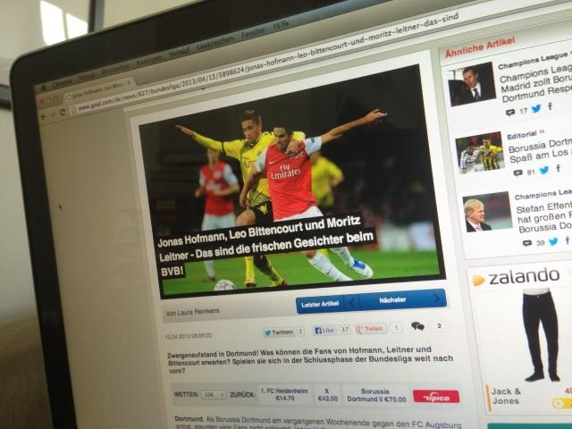 Artikel auf Goal.com